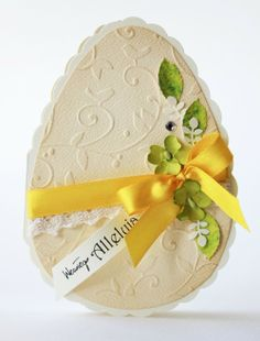 Lovely Easter Egg Card...with a satin yellow ribbon.
