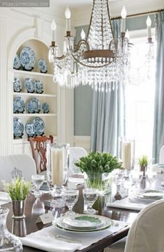 pops of green with flowers, blue and white china, blue gray walls