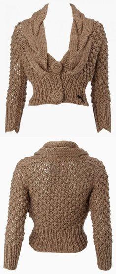 Jacket from Lipsy Crochet Pullover Pattern, Gilet Crochet, Knit Crochet, Chunky Knitting Patterns, Knit Patterns, Baby Knitting, Knit Jacket, Crochet Clothes, Knitwear