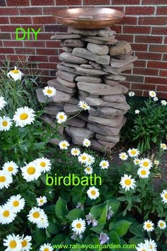 DIY bird bath using free Lake rocks