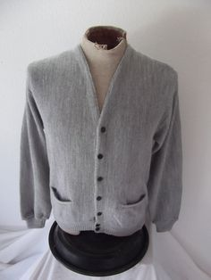 gray cardigan men - grandpa cardigan -1960s sweater men - 60s cardigan men gray sweater - Large