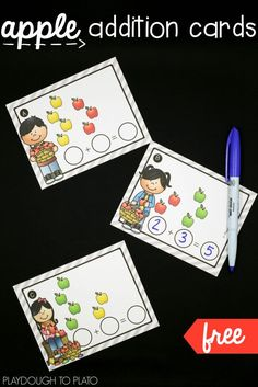 Free apple addition cards! Fun way to practice writing and solving addition problems.