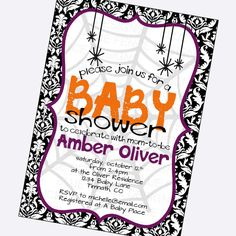 halloween baby shower invitation, halloween party-any type of event, spiders, gender neutral, printable, digital invite, 24 hour proof on Etsy, $11.00