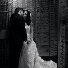Old bank vault wedding photo shoot