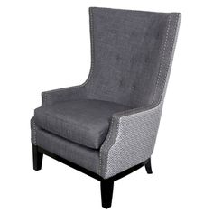 Porter Draper Lilian Tufted Nailhead Trim High Wing Back Accent Chair, Blue (Foam)