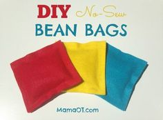 Learn how to make these 5-minute DIY no-sew bean bags ... plus learn lots of ideas for fun, developmental bean bag activities!