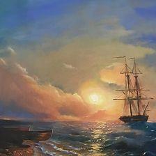 A sea of the sun (Inspired by Aivazovsky),  oil, canvas 100х70