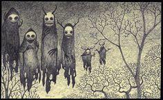 Creepy line art drawing of floating skull wraiths. (Bare trees)