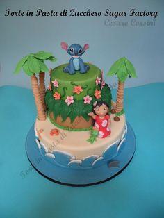 Torta Lilo & Stitch Cake by cesare Lilo And Stitch Cake, Lilo Y Stitch, Fancy Cakes, Cute Cakes, Cool Cake Designs, Beach Cakes, Luau Birthday, Character Cakes, Disney Cakes