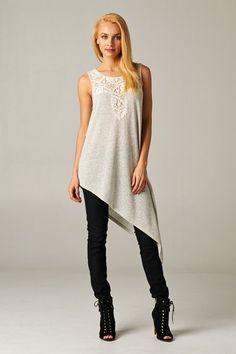 Asymmetrical Long Crochet Top Creme | Beciga www.beciga.com  #Beciga #Fashion #NJ #Culture #Contemporary