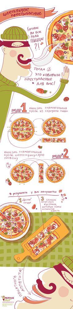 Готовы на все ради пиццы? Тогда это коварное преступление для вас!  Эта #инфографика поможет незаметно стащить кусок пиццы так, что никто не заподозрит мошенничества! Вы сможете насладиться самым большим куском, а #пицца при этом будет выглядеть нетронутой.