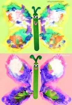 Colorful Butterfly Art Painting - Learning About Symmetry - Great one day art project for teachers!