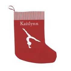 Red and White Stripe Gymnastics Personalized  Christmas Stocking. #personalizedchristmasstockingsforkids