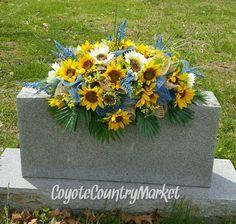 Sunflower Denim Burlap Mesh Headstone Saddle, Memorial Sunflower Headstone Saddle, Gravestone Flowers, Memorial Day Flowers, Grave Saddle by CoyoteCountryMarket on Etsy