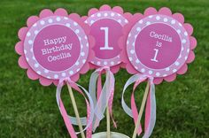 3 Centerpiece Sticks - Polkadots Pink and White - Personalized - Girls Birthday Party Decorations. $10.00 USD, via Etsy.