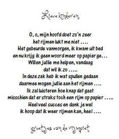 Brief van Rijmpiet Kindergarten Teachers, Diy For Kids, Worksheets, School, Teaching, Quotes, Crafts, Carnival, Quotations