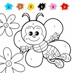 Math Coloring Worksheets - Worksheet School Counting Worksheets For Kindergarten, Preschool Color Activities, Preschool Writing, Worksheets For Kids, Ladybug Coloring Page, Abc Coloring Pages, Coloring For Kids, Coloring Books, Math Coloring Worksheets