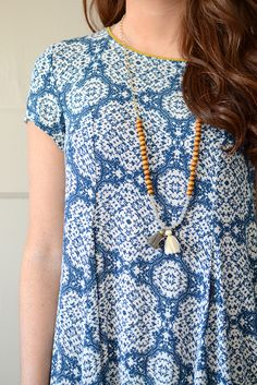Blue and White Printed Swing Dress