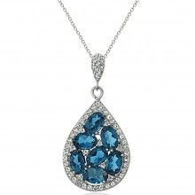 Sterling Silver 4.4ct TDW London Blue Topaz and White Topaz Teardrop Cluster Necklace