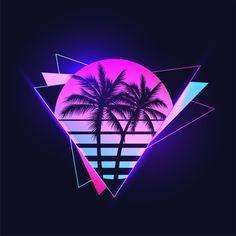 New Retro Wave, Retro Waves, Musik Illustration, 1366x768 Wallpaper Hd, Neon Licht, 80s Neon, Palm Tree Silhouette, Vaporwave Art, Neon Logo