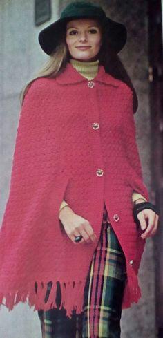 Six (6) Vintage Crocheted Women's Cape Pattern