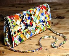 Clutch purse using candy wrappers  Free standard shipping  Upcycling by Milo >>> You can get more details by clicking on the image.