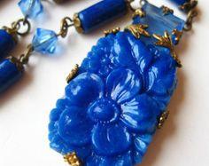 Vintage 20s Max Neiger Art Deco Czech Cobalt Blue Art Glass Bead Necklace
