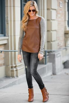 Friend or Faux Leather Top - super cute!  dresses up the look and is quick for busy mom