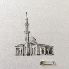 Intricately Detailed Miniature Drawings of Real Mosques in the UAE - My Modern Met Islamic Art Canvas, Islamic Paintings, Islamic Wall Art, Detailed Drawings, Cool Drawings, Medina Mosque, Mosque Architecture, Landscape Sketch, Perspective Art