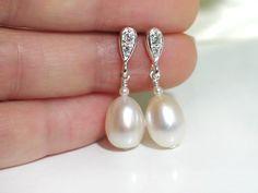 Bridal Pearl Earrings - Ivory Freshwater Pearls w Crystal in Sterling Silver / Allure Ivory