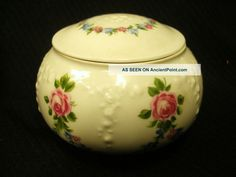 Antique German Porcelain Vanity Jar Trinket Box Wallendorf 1764 Roses Germany