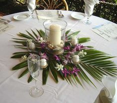 Change purple accents to blue- frost leaves, alternate table cloths, some green, some white. White palm leaves on green.