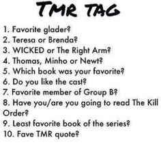 "(1)newt (2) brenda (3) the right arm (4) newt (5) scorch trials (6) yessss (7) Sonya (8) going to (9) impossible to choose (10) ""we're all bloody inspired"""