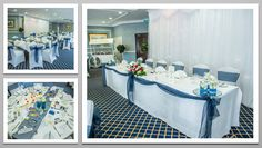 Navy blue colour schemed venue dressing. Navy blue organza chair sashes. You can hire venue dressing like this at Natalija.Co Event Planning, find us on facebook, or visit our website, www.natalija.co.uk