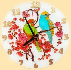 The Birds Clock FREE WORLDWIDE DELIVERY Glass by GlasssMagic. Glass Painting.