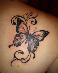 15 gorgeous shoulder butterfly tattoo desgns - Tätowierungen - Tattoo World Realistic Butterfly Tattoo, Butterfly Tattoos For Women, Butterfly Tattoo Designs, Semicolon Butterfly, Girl Shoulder Tattoos, Butterfly Tattoo On Shoulder, Tribal Butterfly Tattoo, Big Butterfly, Gorgeous Tattoos