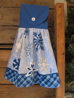 Snowflake Kitchen Tea Towel Christmas Hanging by SnowNoseCrafts, $6.00