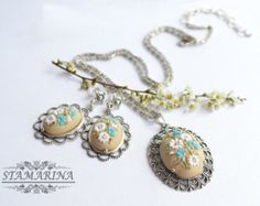 Floral Polymer Clay Pendant NecklaceWhite Poppies