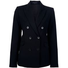 THEORY 'Gilda' double-breasted blazer ($525) ❤ liked on Polyvore featuring outerwear, jackets, blazers, coats, outer wear, black long sleeve jacket, black blazer, theory blazer, double breasted jacket and long sleeve jacket