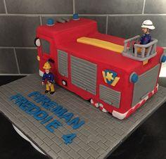 Fireman Sam, Jupiter, fire engine cake Thomas Birthday Cakes, 2 Birthday Cake, Third Birthday, 3rd Birthday Parties, Boy Birthday, Fireman Birthday, Fireman Party, Fire Engine Cake, Fireman Sam Cake