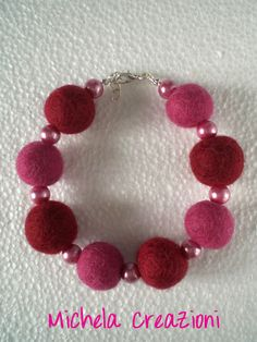 Pink felt balls bracelet