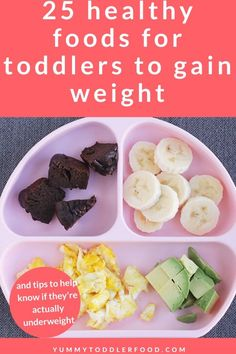 If you have an underweight toddler who's fallen off their growth curve these healthy foods for toddlers to gain weight may help. They're high in calories nutrient dense and often make the rest of their meal taste a whole lot more delicious! High Calorie Snacks, Calorie Dense Foods, High Fat Foods, Picky Toddler Meals, Toddler Lunches, Kids Meals, Toddler Dinners, Healthy Food For Toddlers, Meals For Toddlers