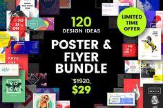 120 Custom Poster and Flyer templates bundle Design flyer