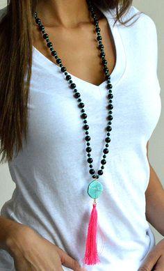 Long Long Tassel Necklace in Black, Pearl, Wood