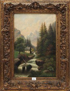 """JULES VERNIER - Esc. Francesa (1862-?) - """"Paisagem Campestre c/ Cachoeira e Casario"""", OST, 4"""
