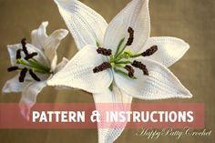 Lirio de patrón - patrón de ganchillo ganchillo flor patrón - ganchillo Flor de lirio - para un Bouquet o decoración de la boda de ganchillo