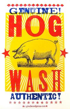 Genuine Authentic HOG WASH LetterPress Posters by NashArt on Etsy