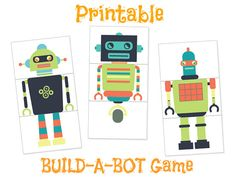 Robot Printables Robot Party PRINTABLE by HidingPlaceBoutique
