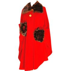 Pre-owned Yves Saint Laurent YSL Red Wool Cape with Mink Collar & Cuffs Coat