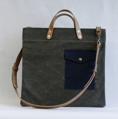 Francis Bag (Olive/Blue). Handmade in Chicago.